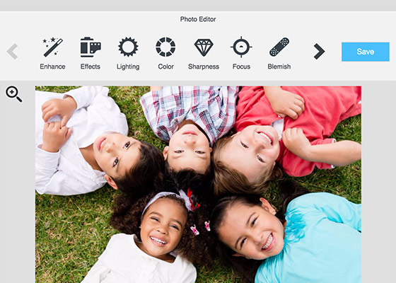 5 children laying in grass inside of our Photo Editor showing features