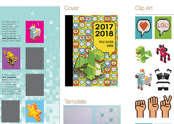Yearbook cover, Clip art, and templates that are included in the DigiDimention pre-designed theme