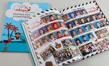 pirate themed yearbook, glitter yearbook cover, yearbook portrait pages