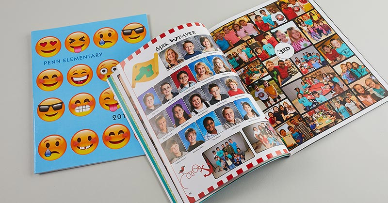 open elementary school yearbook, close yearbook, emoji yearbook cover