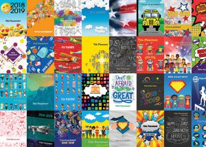 2019 yearbook covers, collage of yearbook covers, school annual yearbook covers