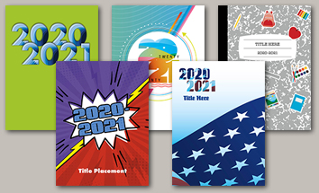 pile of hardcover elementary yearbooks, school yearbooks, yearbook cover design