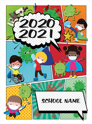 White Background With Blue, Purple and Green Lettering and Creative Design, Yearbook Cover 4049